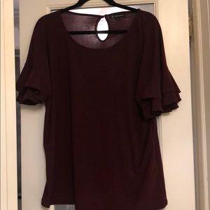INC short sleeve ruffle blouse